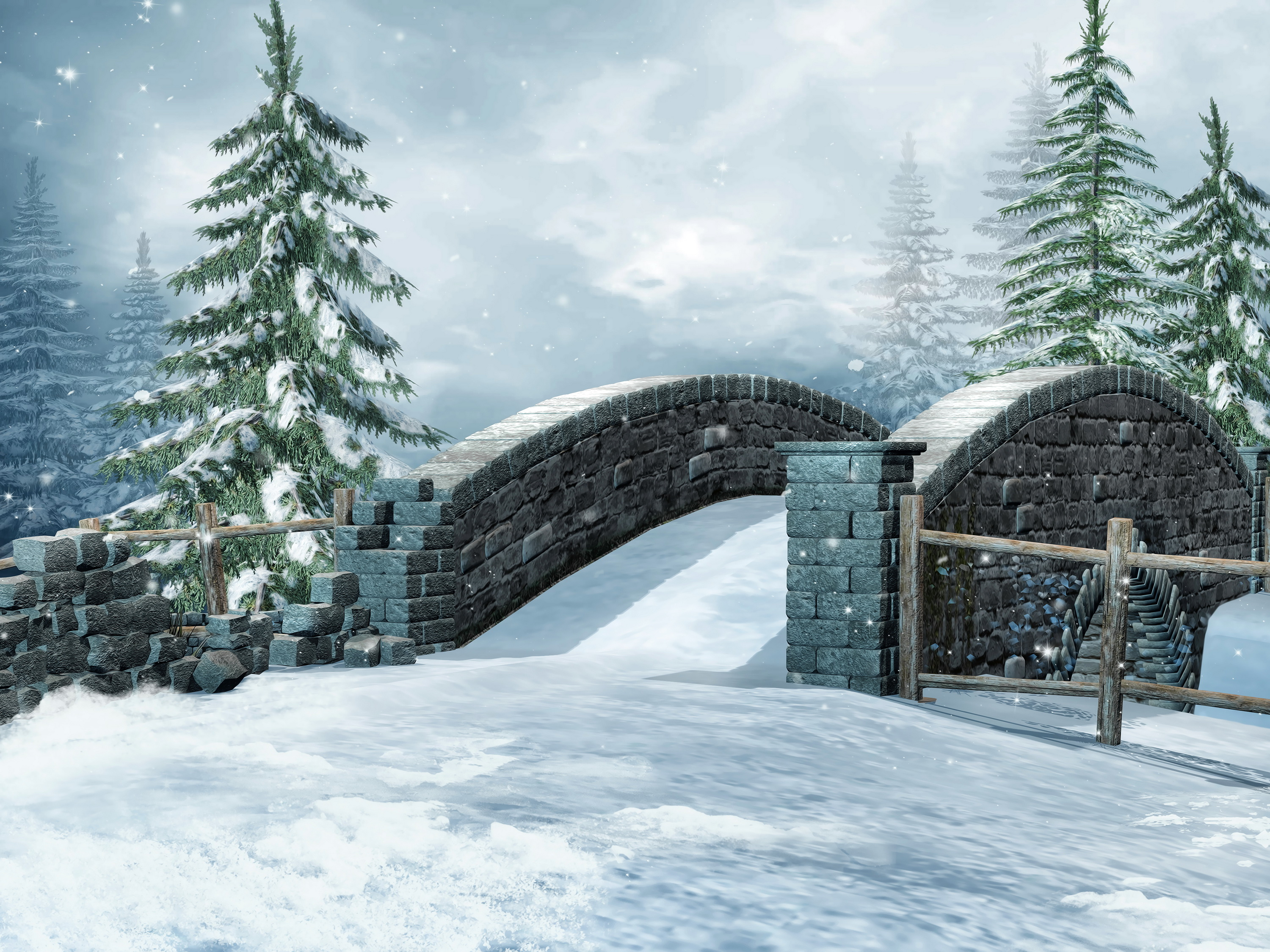 Seasons Winter Bridge Fir Snow Nature 3D Graphics