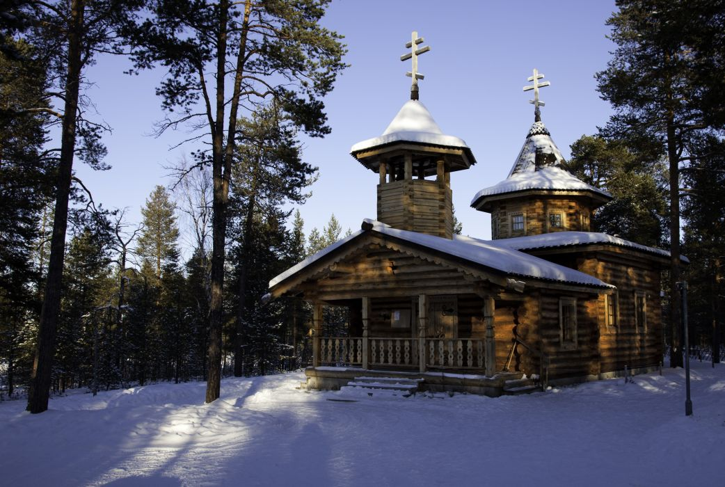 Seasons Winter Finland Templs Lapland Wooden Nature church religion wallpaper