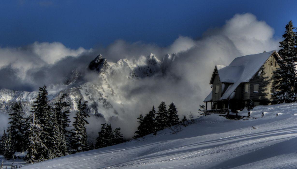 Seasons Winter Mountains Snow Nature wallpaper