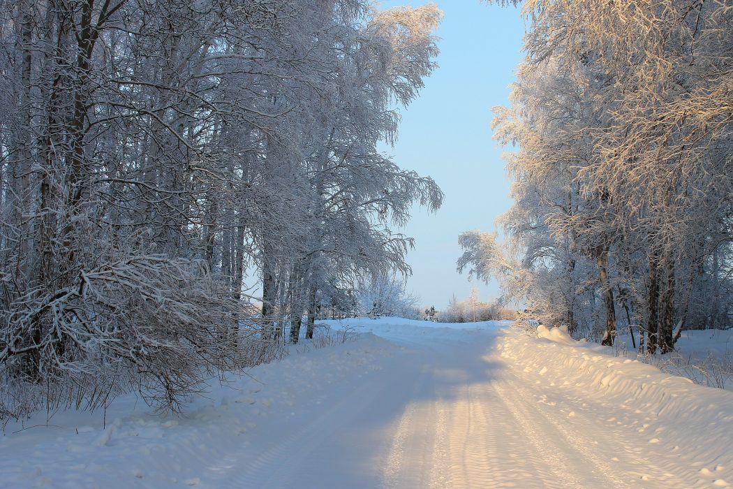 Seasons Winter Roads Snow Nature wallpaper