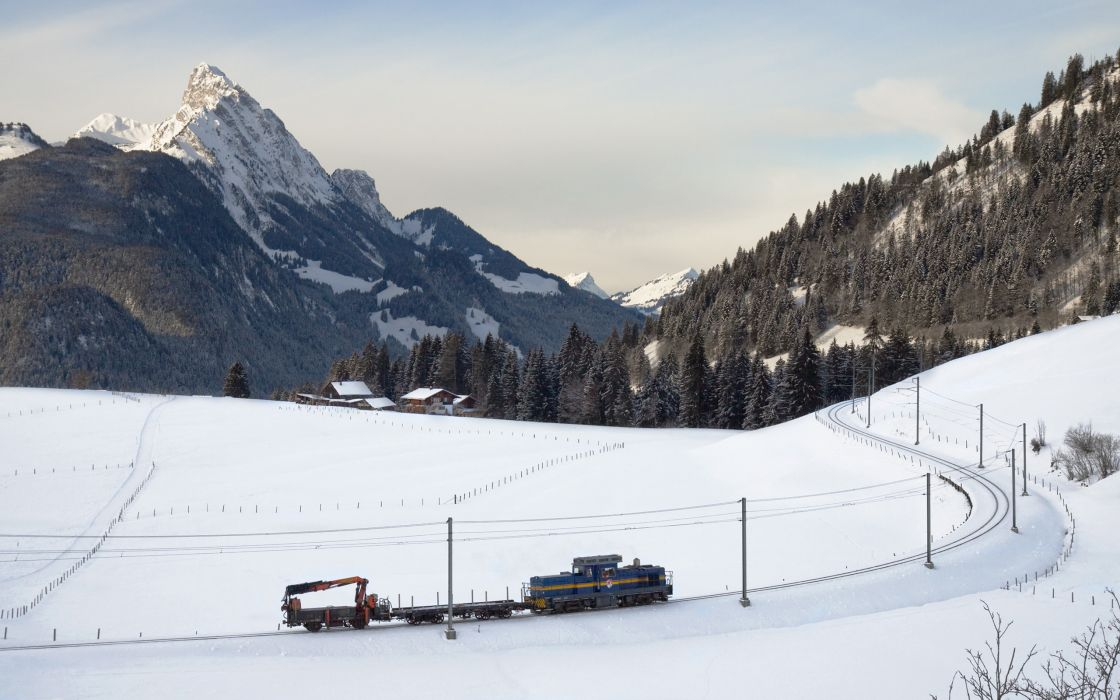 snow mountains train winter       g wallpaper