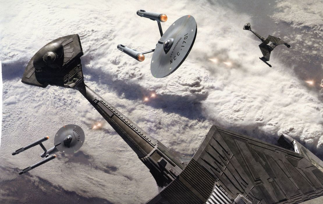 Star Trek Starship Enterprise Spaceship battle wallpaper