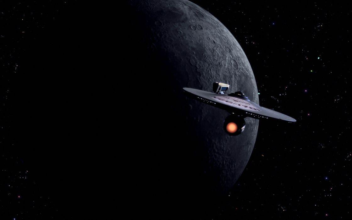 Star Trek Starship Enterprise Spaceship Moon Stars wallpaper