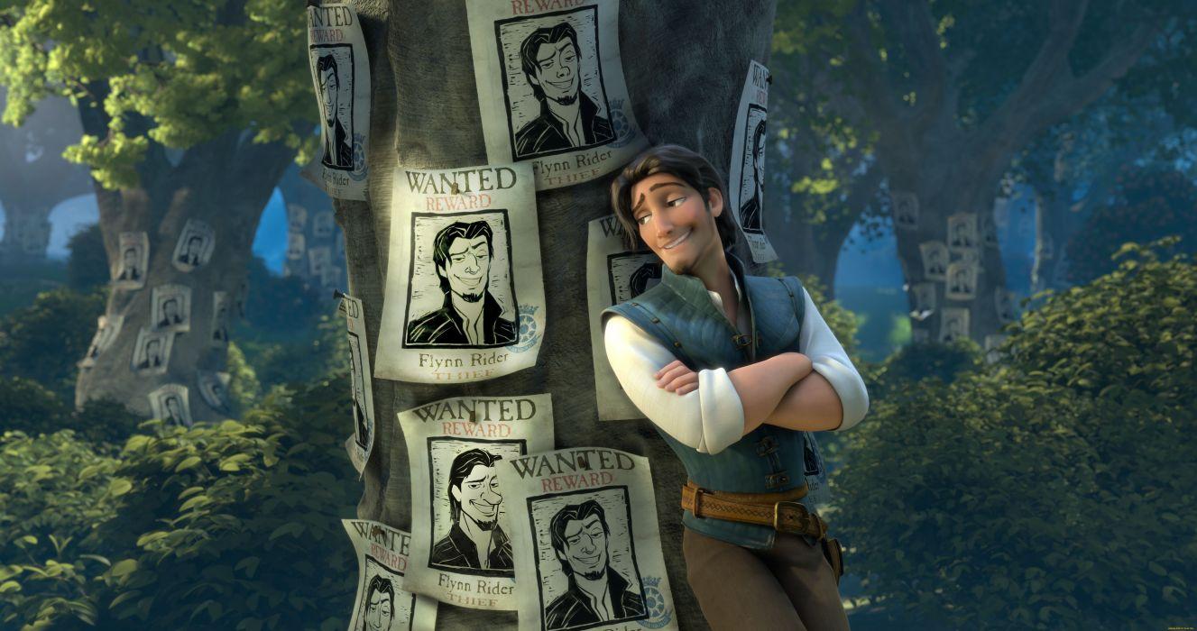 Tangled Guys Trunk tree Cartoons 3D Graphics wallpaper