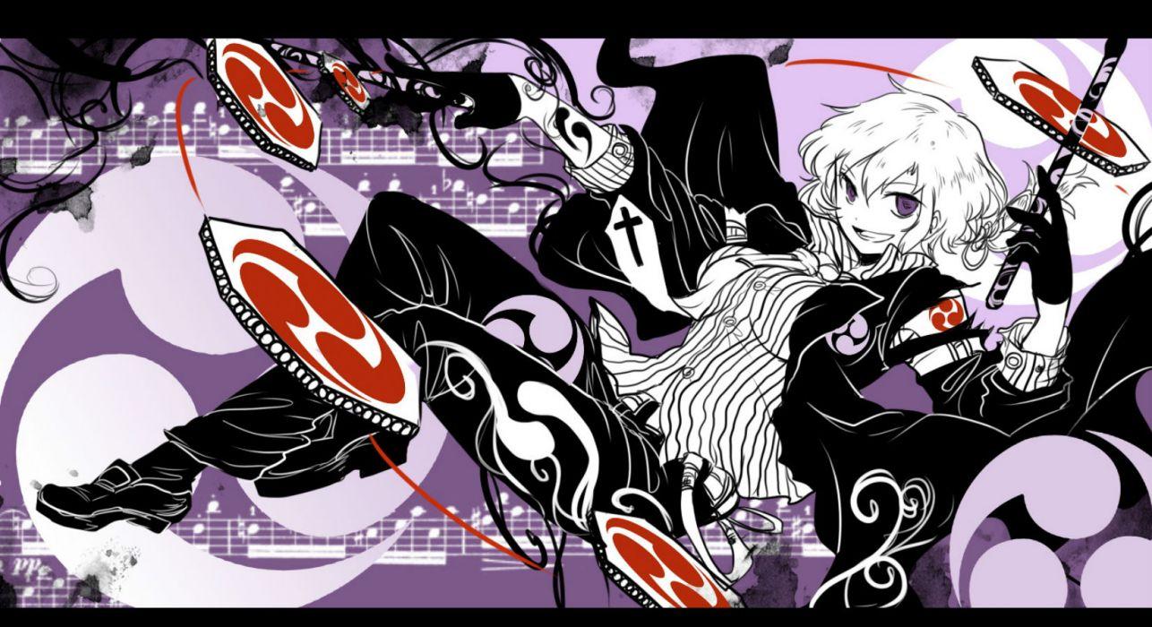 touhou cross gloves horikawa raiko music purple eyes shigureru tie touhou white hair wallpaper