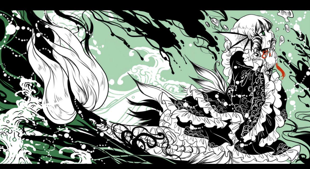 touhou crying green eyes long hair shigureru tears touhou wakasagihime white hair wings wallpaper