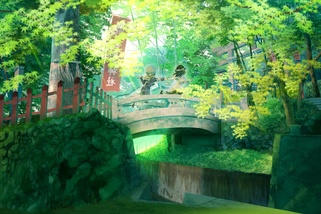 touhou girls black hair forest green hat landscape maribel han scenic shinta (hmmuk) torii touhou tree usami renko wallpaper