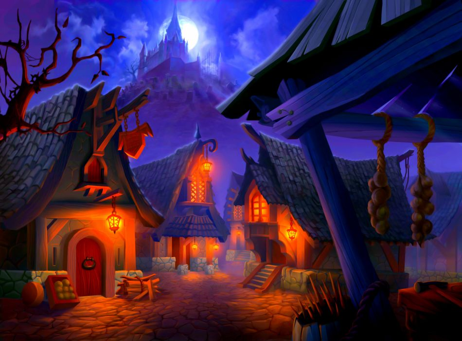 Village Houses Lights Lock Rock Moon Halloween Wallpaper