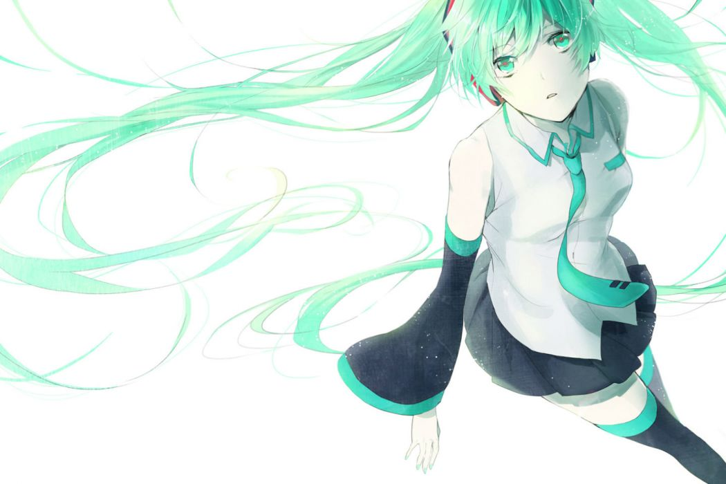 vocaloid green eyes green hair hatsune miku long hair skirt thighhighs tie twintails vocaloid white wallpaper