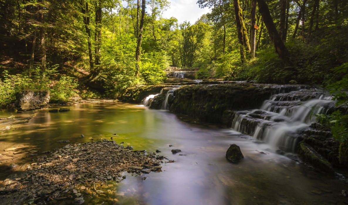 Waterfalls France cascades Les Planches Nature wallpaper