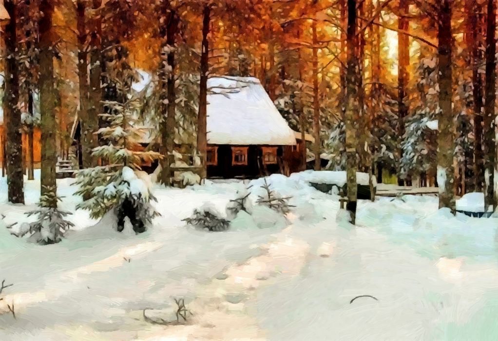 Winter Snow Forest Trees House Painting Oil On Canvas