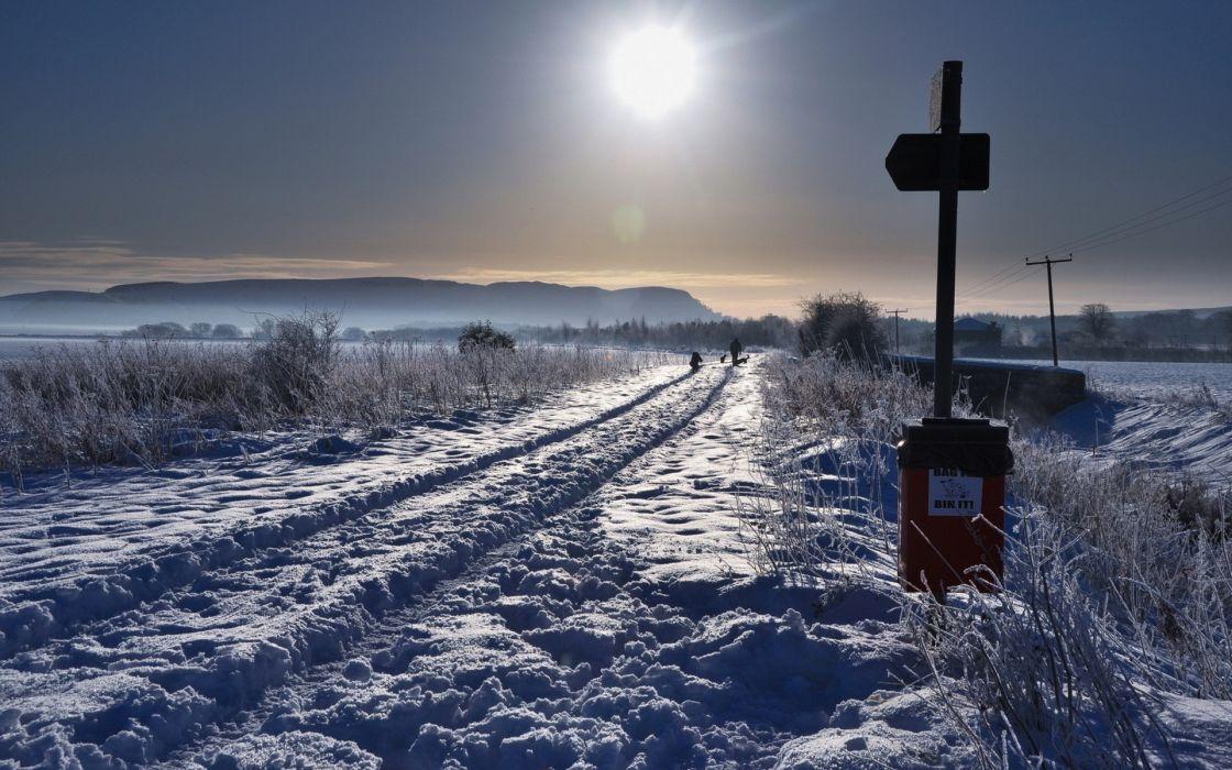 winter sunset snow sign wallpaper
