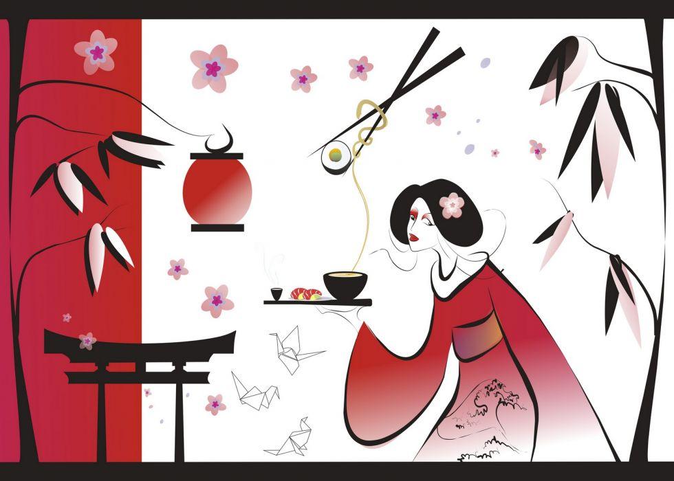 Japanese asian oriental bokeh art wallpaper