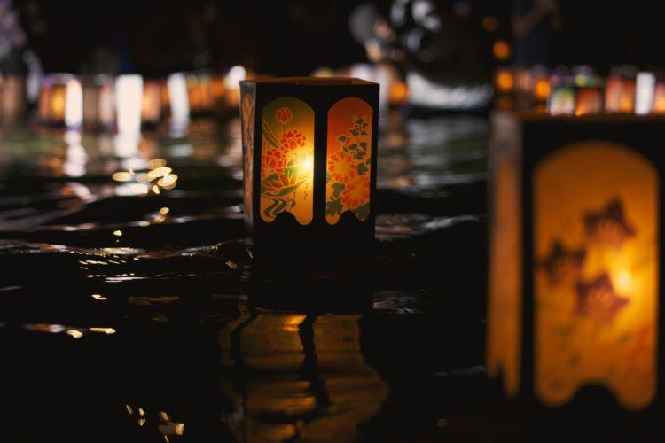 Japanese lantern lamp light asian oriental bokeh fg wallpaper
