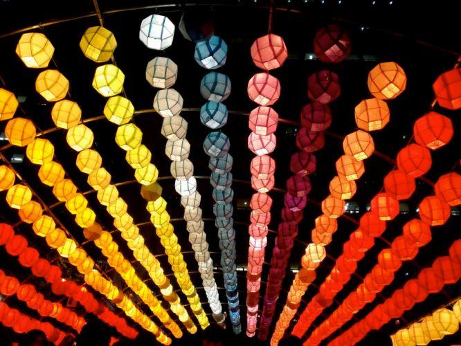 Japanese lantern lamp light asian oriental bokeh psychedelic f_JPG wallpaper