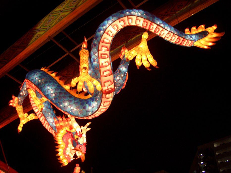 Japanese Lantern Lamp Light Asian Oriental Bokeh Dragon Fantasy F Wallpaper