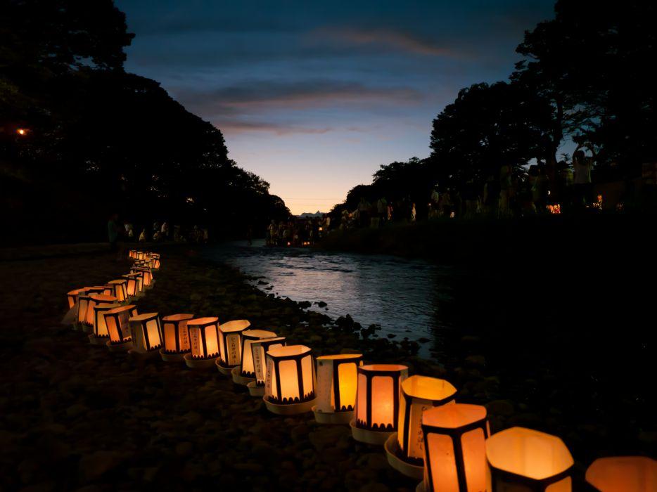 Japanese lantern lamp light asian oriental bokeh river wallpaper