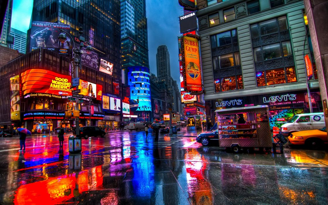 Times Square new york usa city cities neon lights night rain      h wallpaper