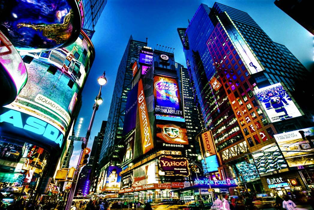 Times Square new york usa city cities neon lights          g wallpaper