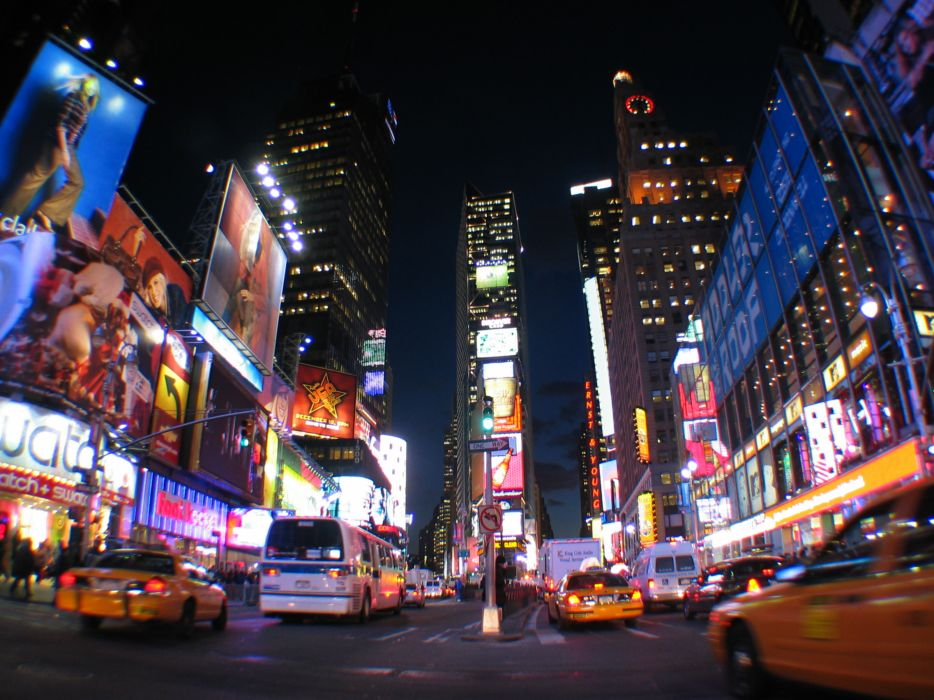 Times Square new york usa city cities neon lights traffic     h wallpaper