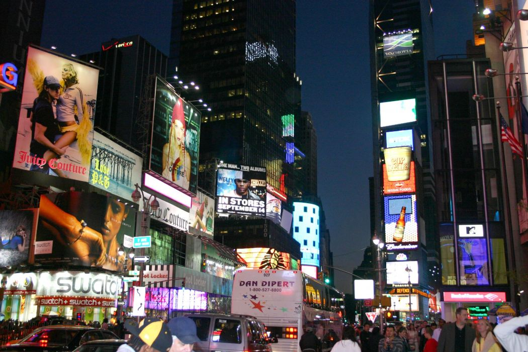 Times Square new york usa city cities neon lights traffic crowd people night    h wallpaper