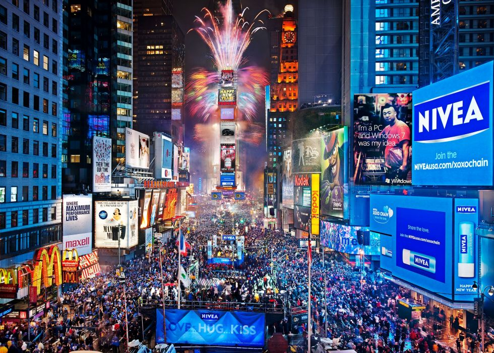 Times Square new york usa city cities neon lights traffic crowd people new year fireworks  h wallpaper