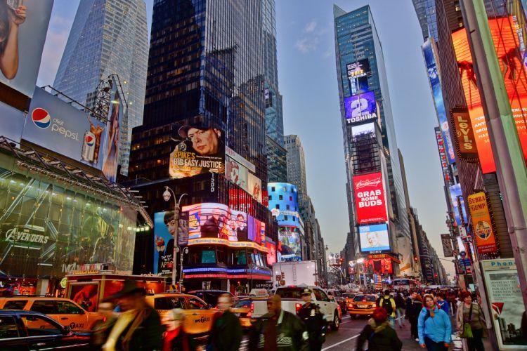 Times Square new york usa city cities neon lights traffic crowd people g_JPG wallpaper
