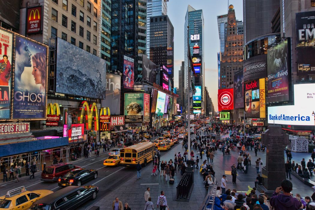 Times Square new york usa city cities neon lights traffic crowd people  o wallpaper