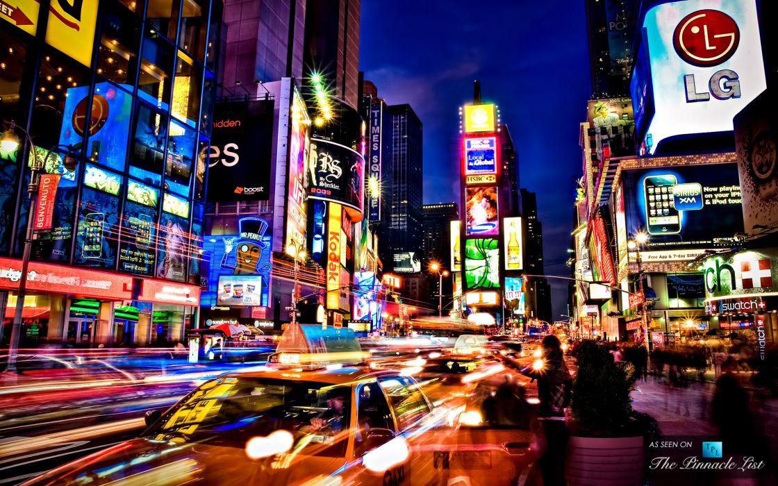 Times Square new york usa city cities neon lights traffic night   t wallpaper