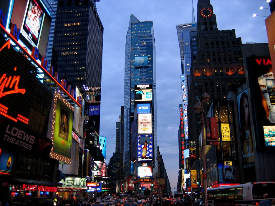 Times Square new york usa city cities neon lights traffic night  f wallpaper