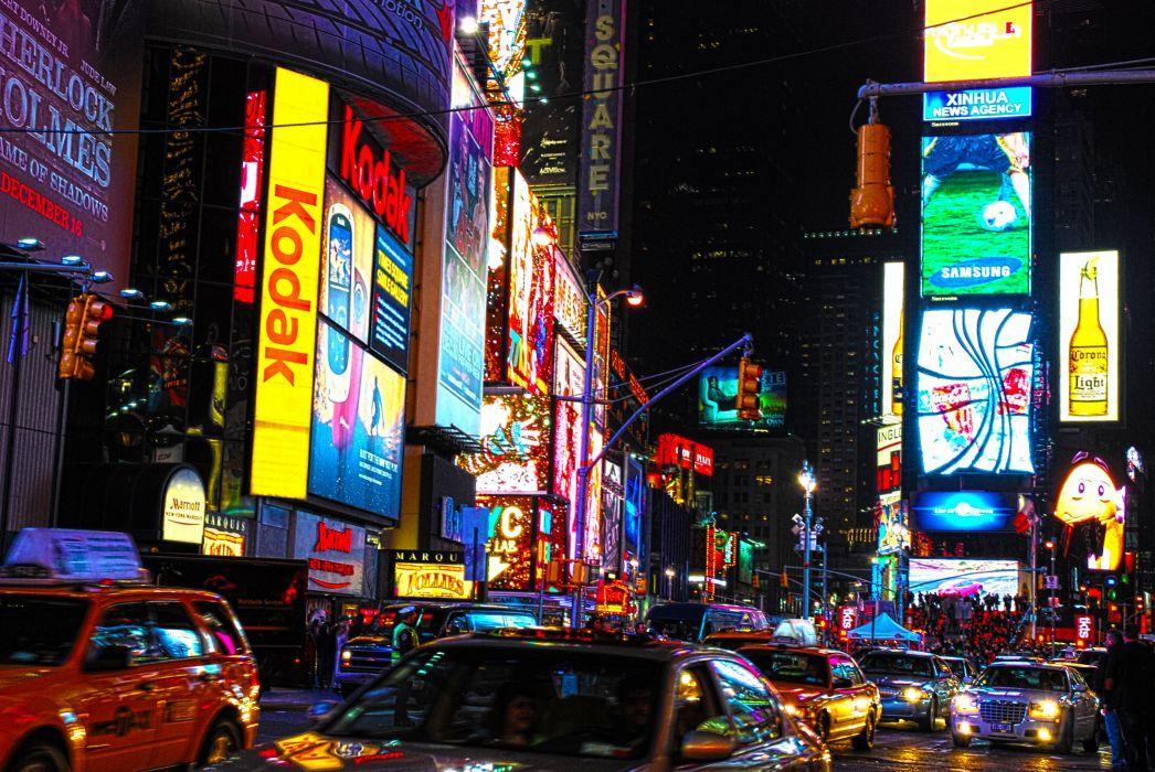 Times Square new york usa city cities neon lights traffic night  yy wallpaper