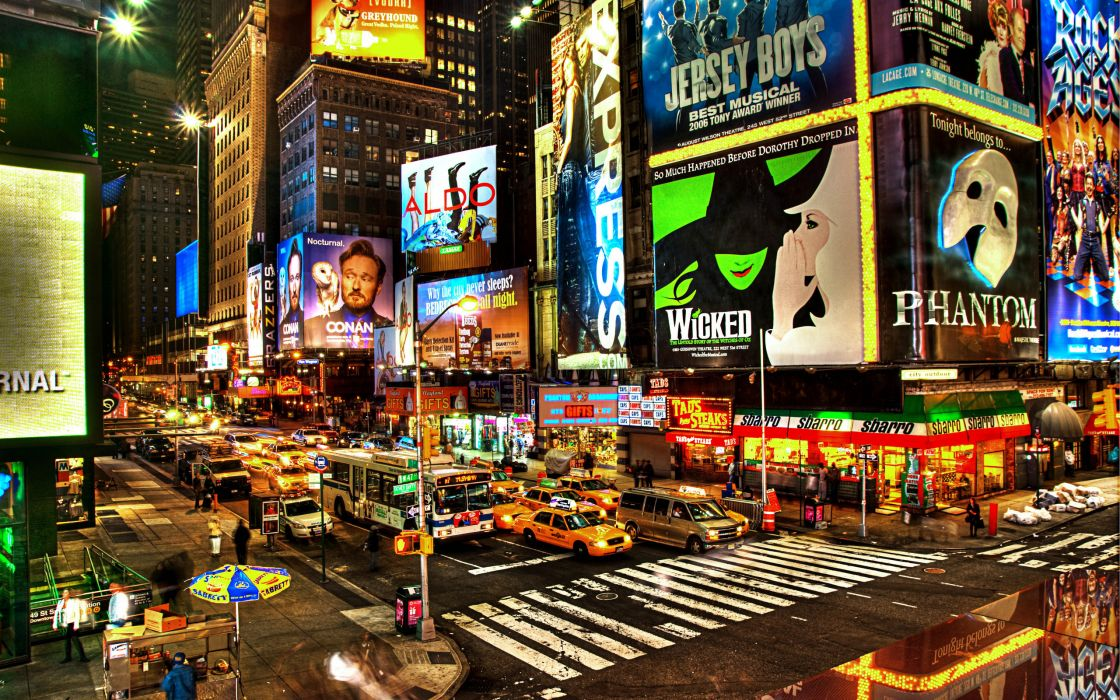 Times Square new york usa city cities neon lights traffic night g wallpaper