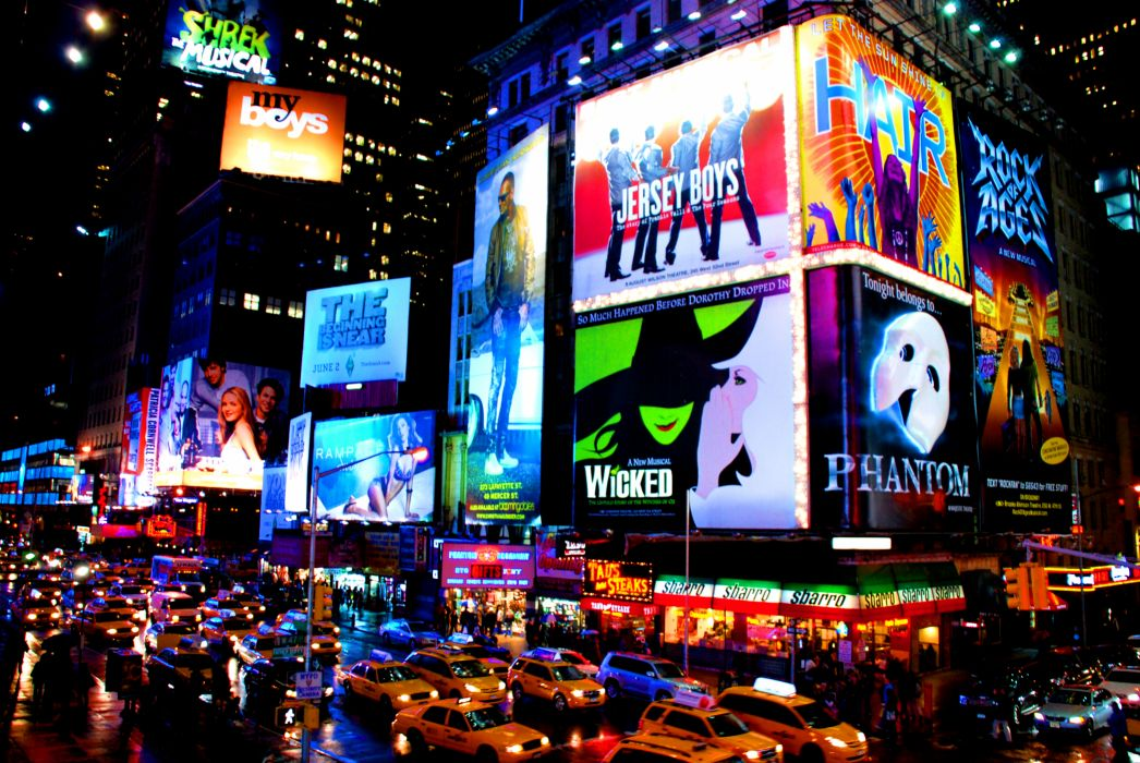 Times Square new york usa city cities neon lights traffic night  y wallpaper