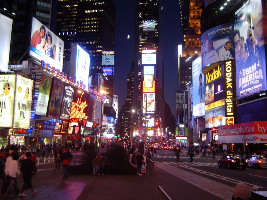 Times Square new york usa city cities neon lights traffic night crowd people    g wallpaper