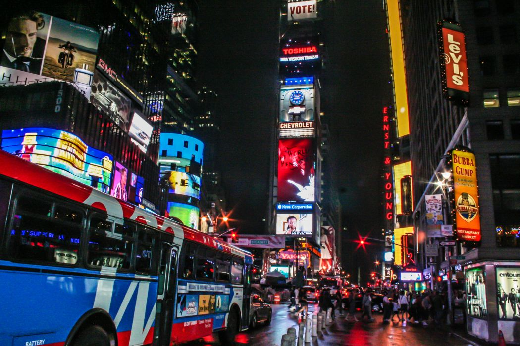 Times Square new york usa city cities neon lights traffic night crowd people  gf wallpaper