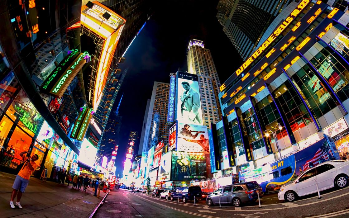 Times Square new york usa city cities neon lights traffic night people      f wallpaper