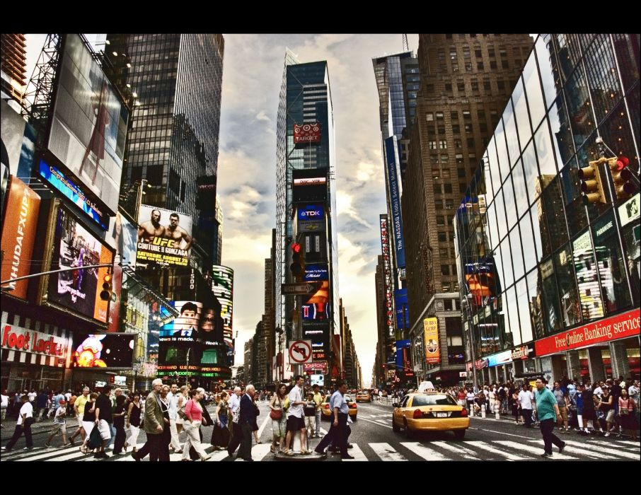 Times Square new york usa city cities traffic crowd people    g wallpaper