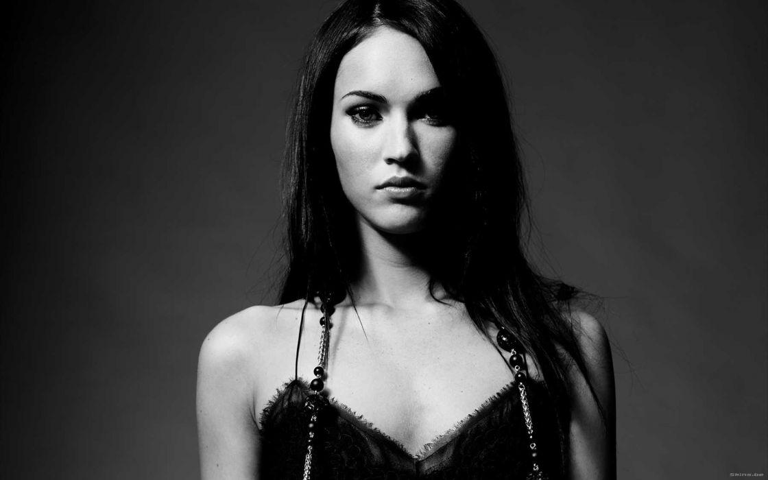 brunettes women Megan Fox actress celebrity grayscale monochrome wallpaper
