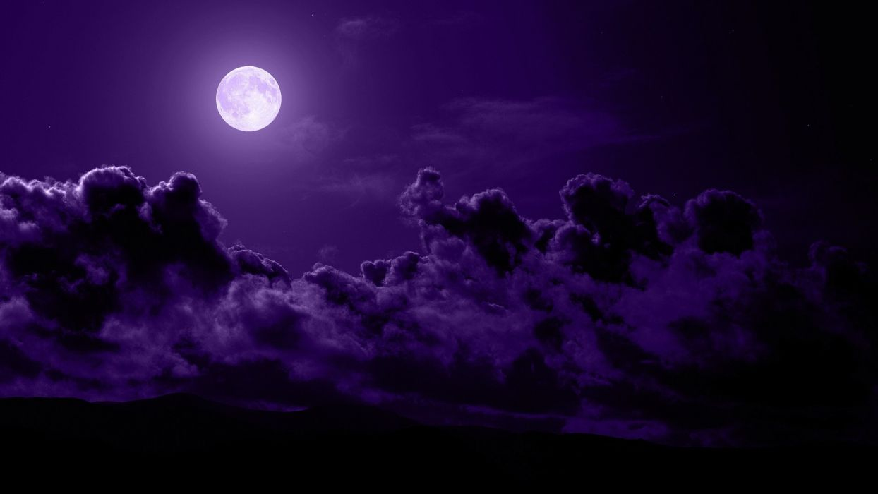 clouds nature night Moon skyscapes wallpaper