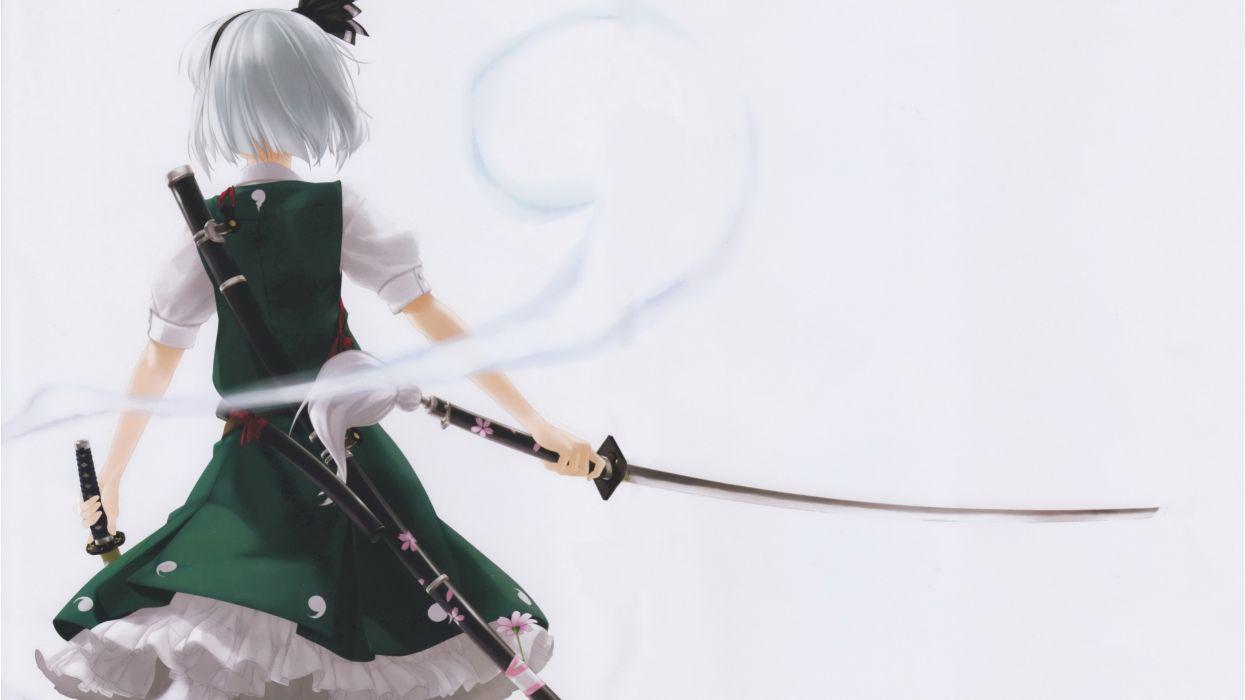 video games Touhou dress back katana samurai weapons ghosts Konpaku Youmu short hair white hair Myon simple background anime girls green dress hair band swords white background hair ornaments Rokuwata Tomoe dual wield scans wallpaper