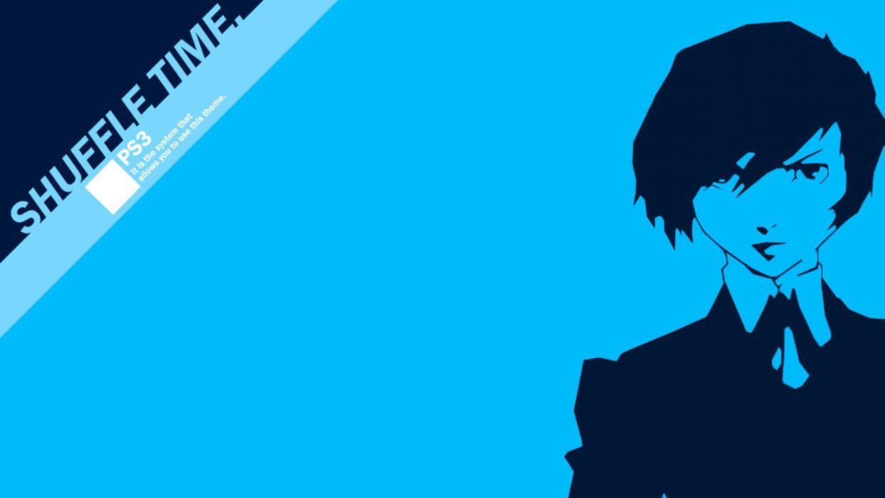 blue Persona series Persona 3 simple background Arisato Minato wallpaper