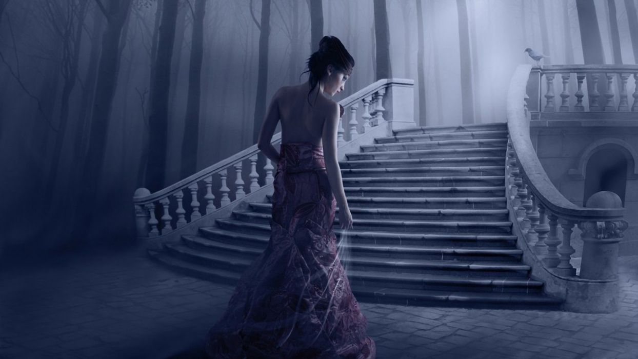 brunettes women fantasy trees dress forests birds fog stairways back view mystery hair up wallpaper