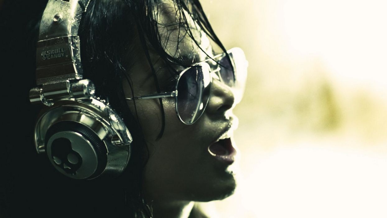 headphones brunettes women skulls music models wet glasses Skullcandy sunglasses Chica Bomb Mayra Munoz faces music video wallpaper