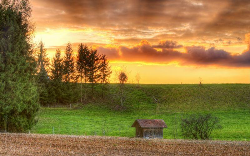 sunset clouds landscapes nature fields wallpaper