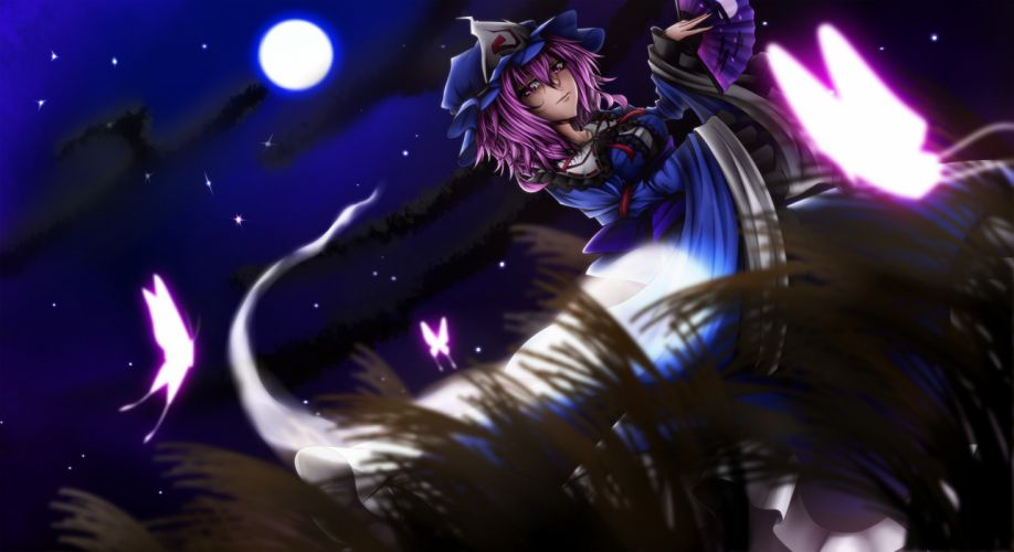video games Touhou night pink hair short hair Saigyouji Yuyuko hats Japanese clothes anime girls butterflies skies wallpaper