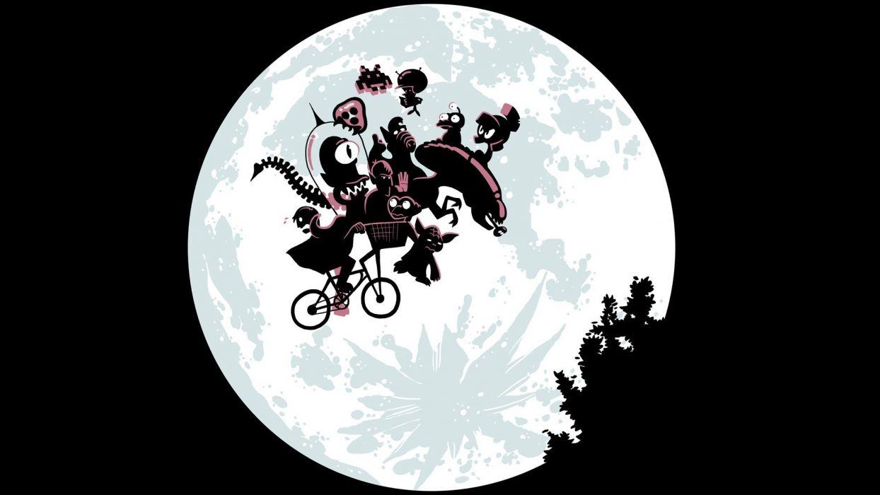 cartoons movies night bicycles predator Moon parody E_T_ Aliens wallpaper