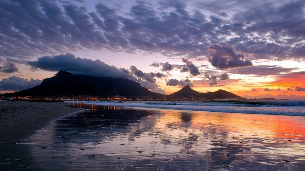sunset mountains landscapes nature city lights reflections sky sea beaches wallpaper