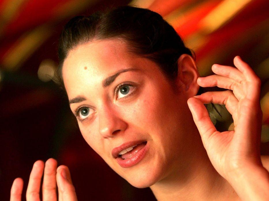 brunettes women blue eyes actress Marion Cotillard wallpaper