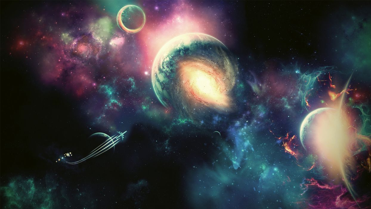 aircraft outer space planets wallpaper