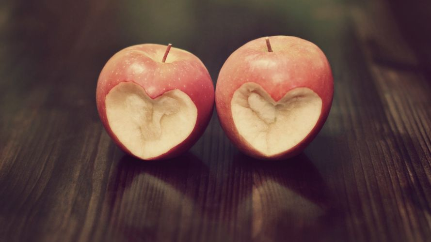 abstract hearts apples wallpaper